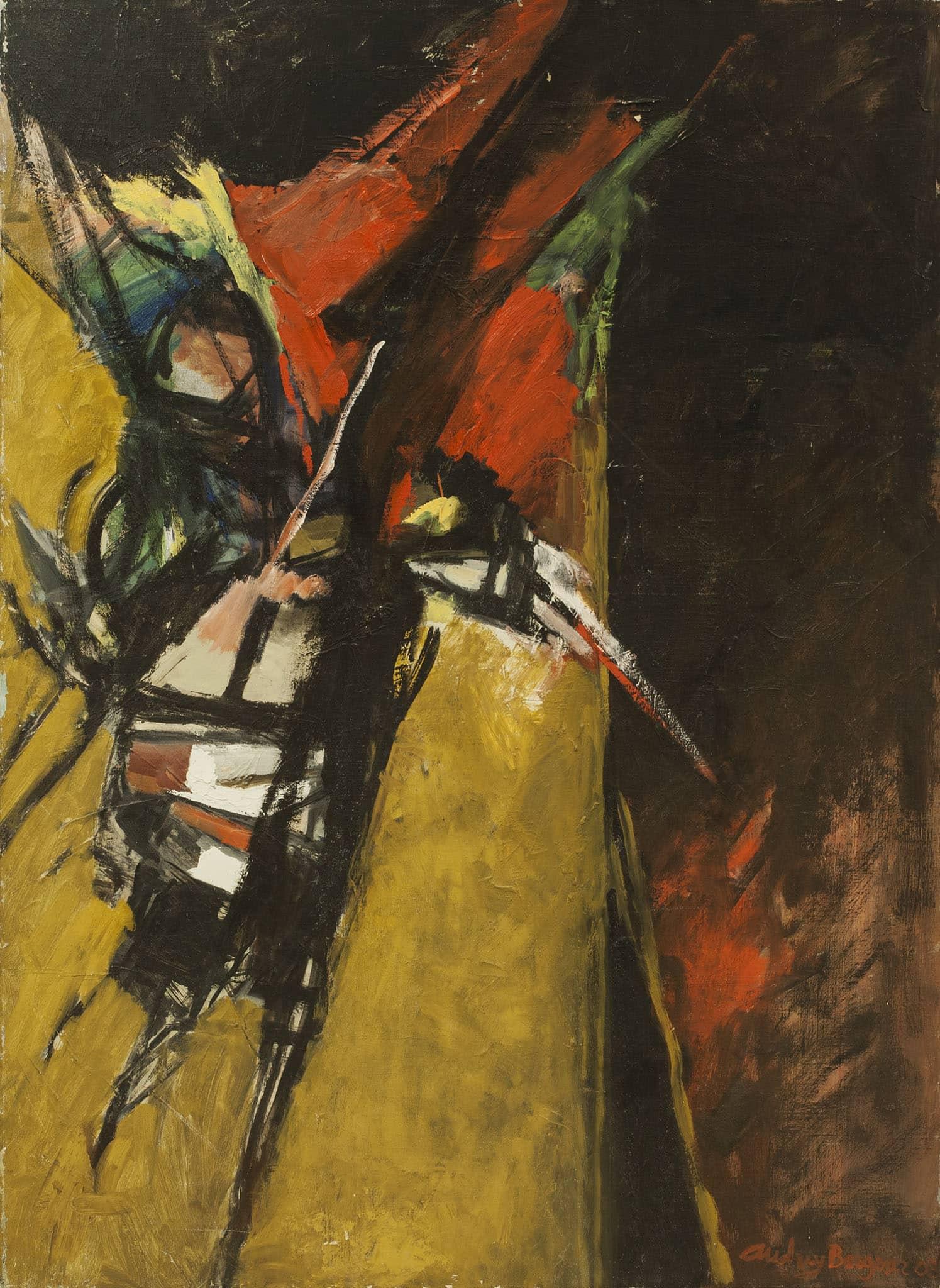 """אודרי ברגנר, """"ציפור"""", 2003, שמן על בד, 73x100 ס""""מ"""
