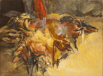 """אודרי ברגנר, """"עדר כבשים בדואי"""", 1985, שמן על בד, 81x60 ס""""מ"""