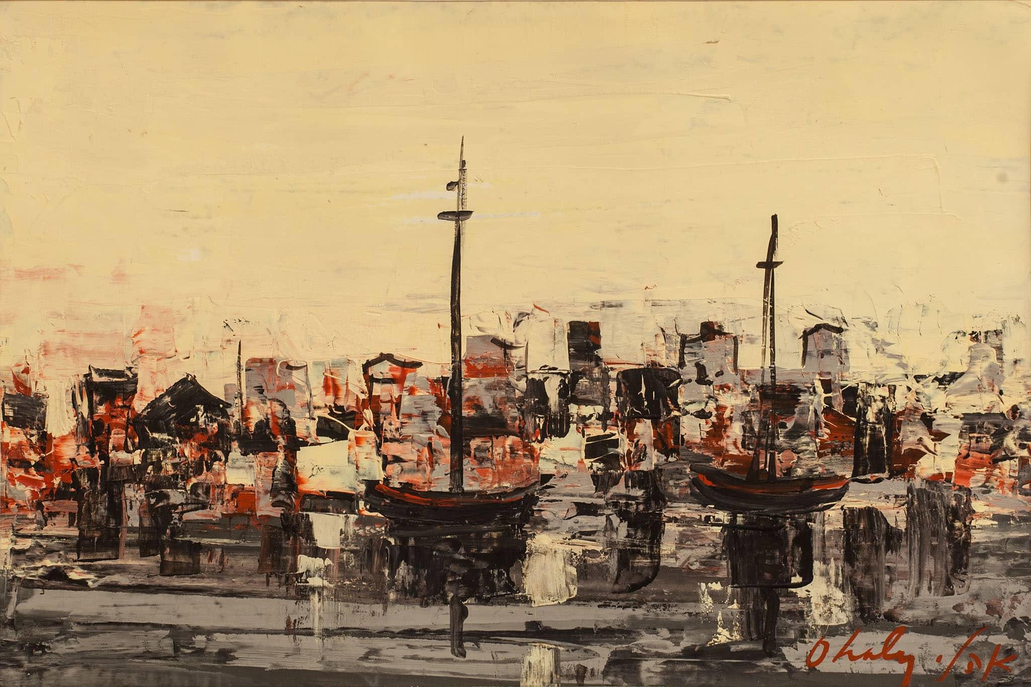 """שאול אהלי, """"סירות בעכו"""", שמן על קרטון, 48x32 ס""""מ"""
