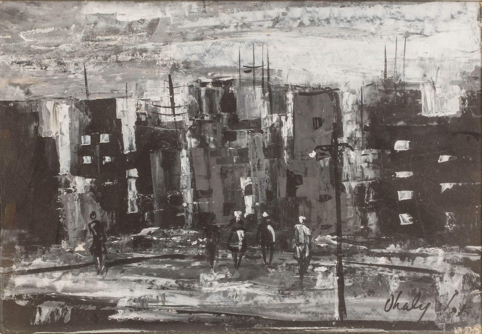 """שאול אהלי, גואש על נייר, 49x34 ס""""מ"""