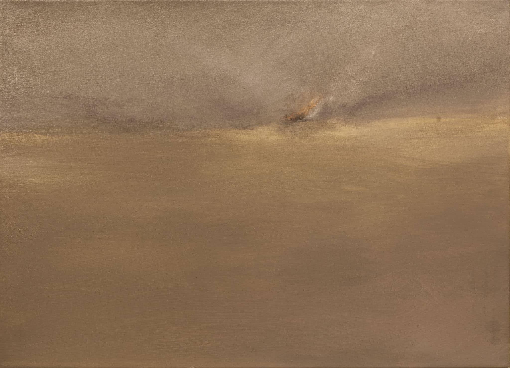 """אבנר בן-גל, """"ערב החורבן"""", 2001, שמן על בד, 65x90 ס""""מ"""