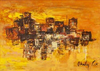 """שאול אהלי, """"נוף עירוני"""", שמן על עץ לבוד, 45x32 ס""""מ"""
