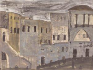 """אברהם אופק, """"בתים"""", 1960, גואש ועיפרון על נייר, 35x50 ס""""מ"""