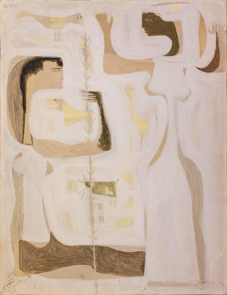 """משה פרופס, """"דמויות"""", 1956, שמן על בד, 54x70 ס""""מ"""