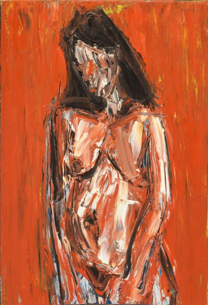 """אלכס קרמר, """"עירום"""", שמן על לוח עץ, 39x57 ס""""מ"""