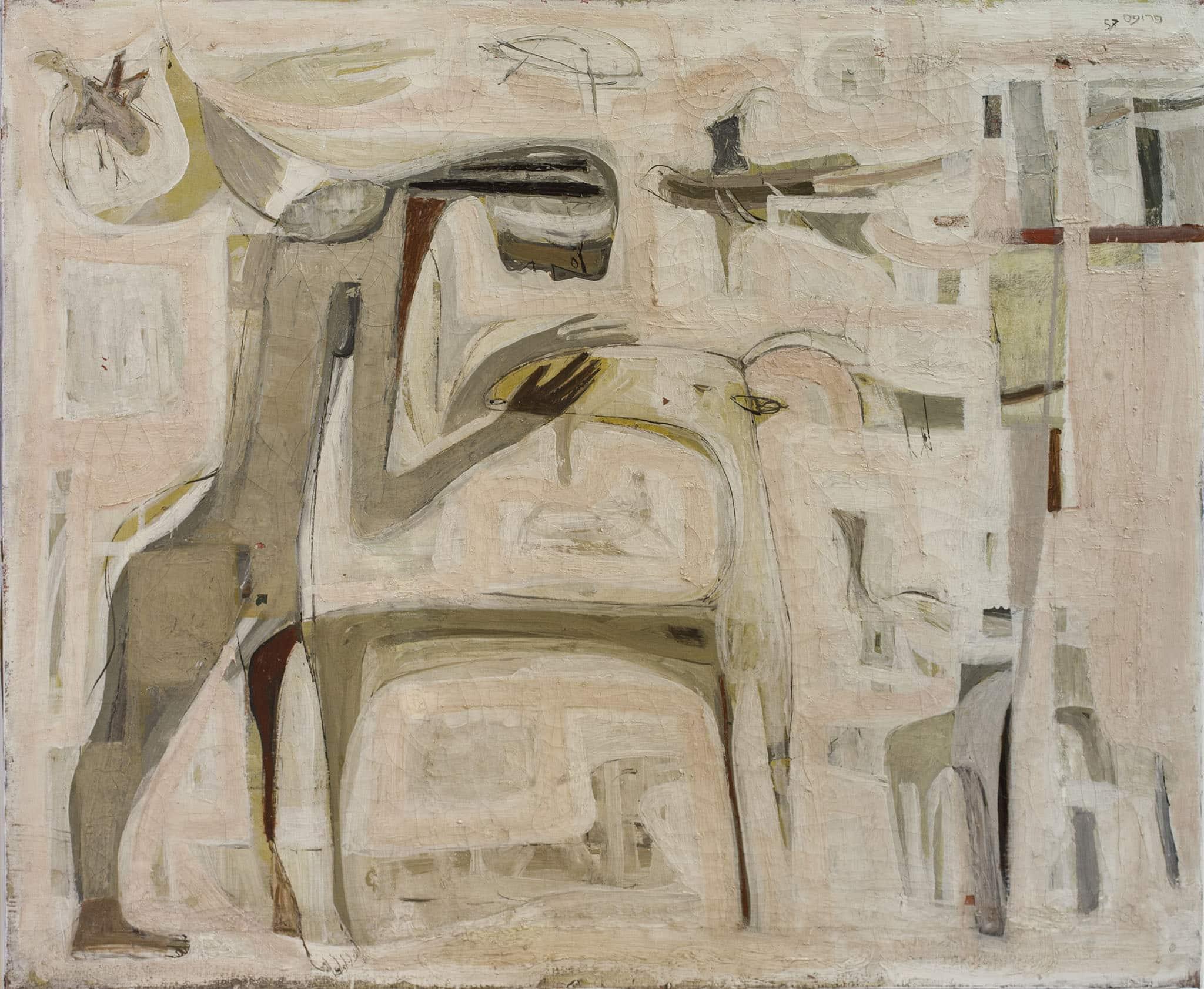 """משה פרופס, """"דמויות"""", 1957, שמן על בד, 60x73 ס""""מ"""