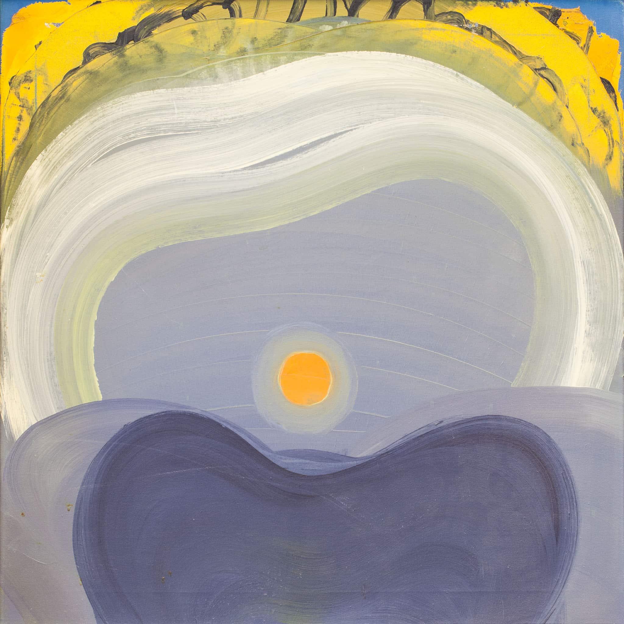 """לארי אברמסון, """"אמפרסיון דה סוליי 1"""", 1987, שמן על בד, 75x75 ס""""מ"""