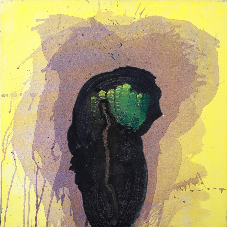 """לארי אברמסון, """"שמש"""", 1988, אקריליק על בד, 75x75 ס""""מ"""