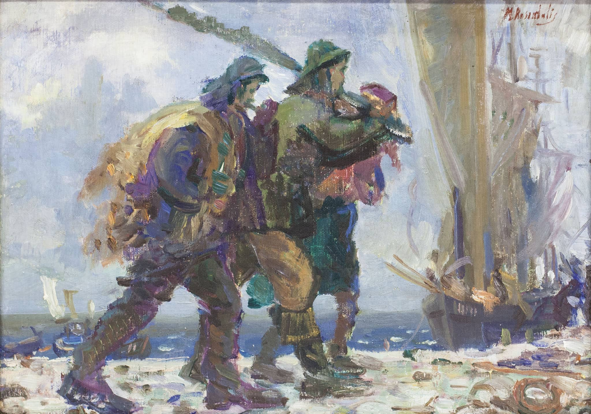 """משה רוזנטליס, """"דייגים"""" שמן על בד, 50x35 ס""""מ"""