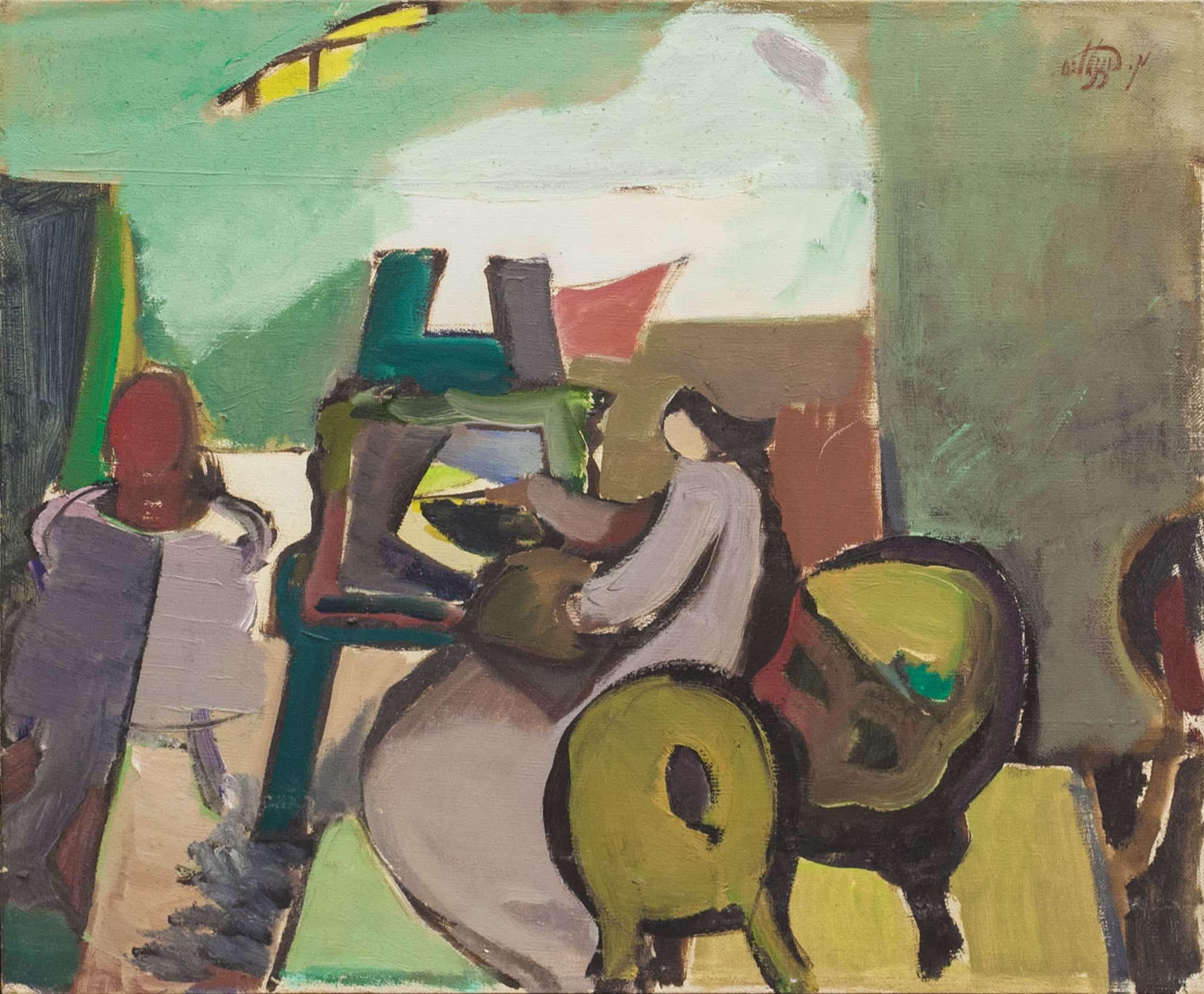 """משה רוזנטליס, """"ציירת בסטודיו"""", שמן על בד, 46x38 ס""""מ"""