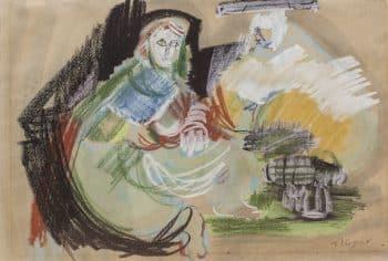 """משה רוזנטליס, טכניקה מעורבת על נייר, 46x31 ס""""מ"""