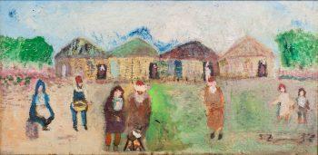 """שלמה ציפמן, """"דמויות במעברה"""", שמן על לוח עץ, 47x23 ס""""מ"""