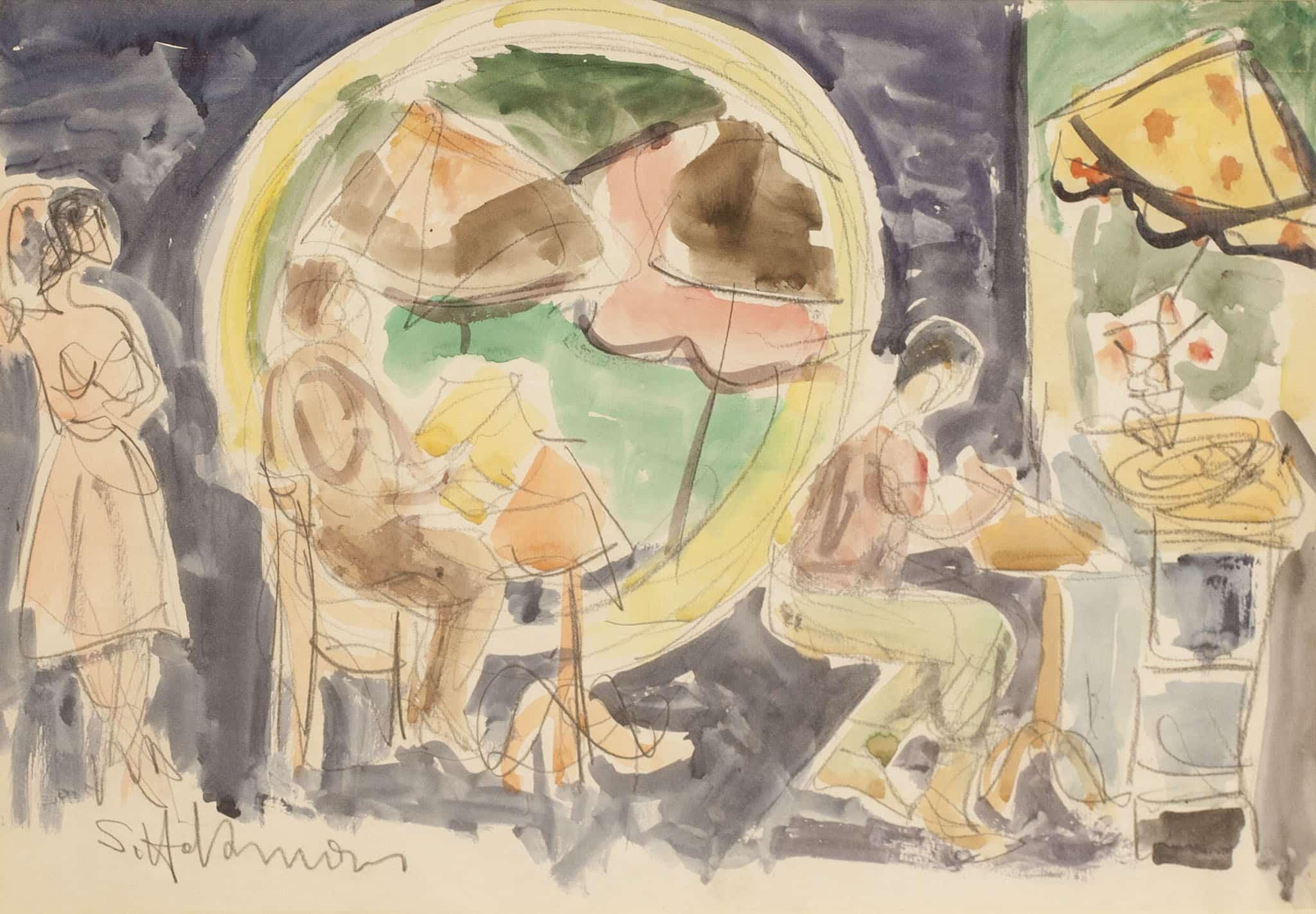 """שמשון הולצמן, """"דמויות בבית קפה"""", עיפרון ואקוורל על נייר, 49x34 ס""""מ"""
