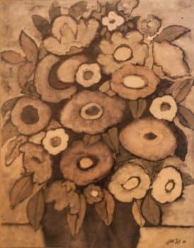 """אברהם עצמון, """"פרחים באגרטל"""", אקוורל על נייר, 47x60 ס""""מ"""