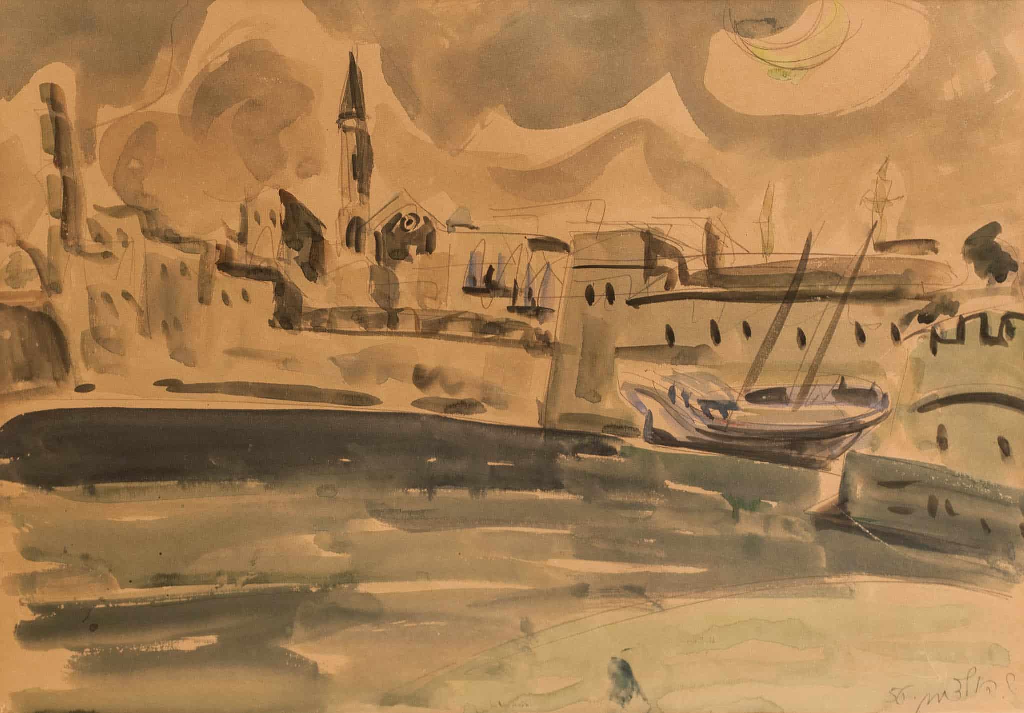 """שמשון הולצמן, """"עכו"""", 1956, אקוורל על נייר, 66x46 ס""""מ"""
