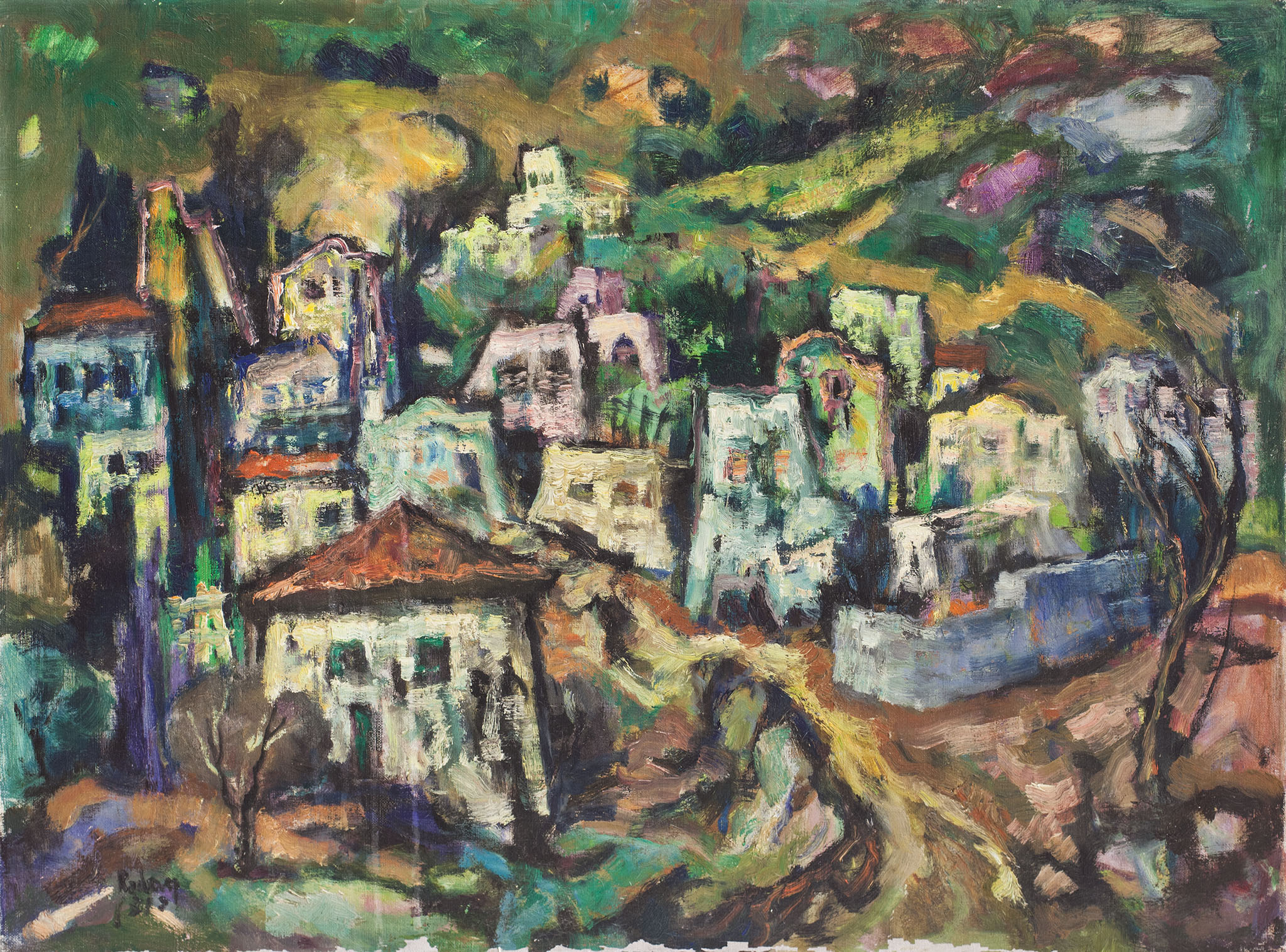 """יהודה רודן, """"נוף כפרי"""", שמן על בד, 81x60 ס""""מ"""
