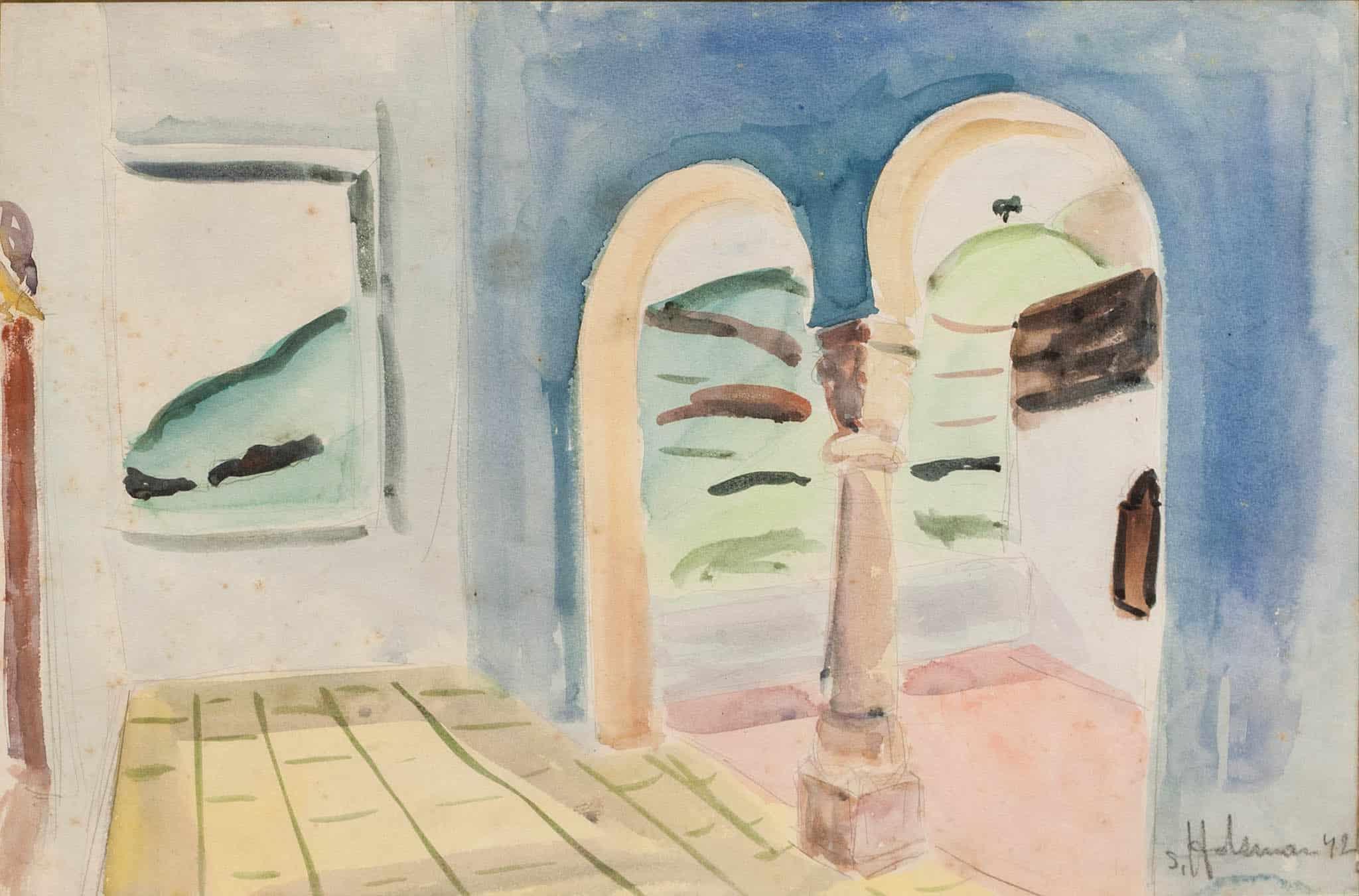 """שמשון הולצמן, """"המרפסת בטבריה"""", 1942, אקוורל על נייר, 50x33 ס""""מ"""