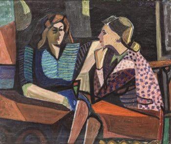 """עמירם תמרי, """"שיחת נשים"""", 1947, שמן על בד, 53x45 ס""""מ"""