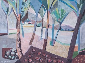 """עמירם תמרי, """"על שפת הכנרת"""", 1957, גואש על נייר, 64x46 ס""""מ"""