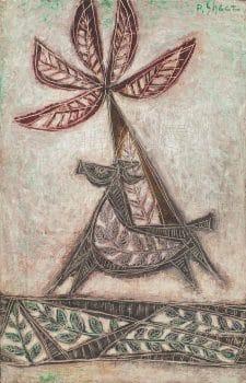 "פנחס שער, ""סוס ועץ תמר"", שמן על בד, 38x59 ס""מ"