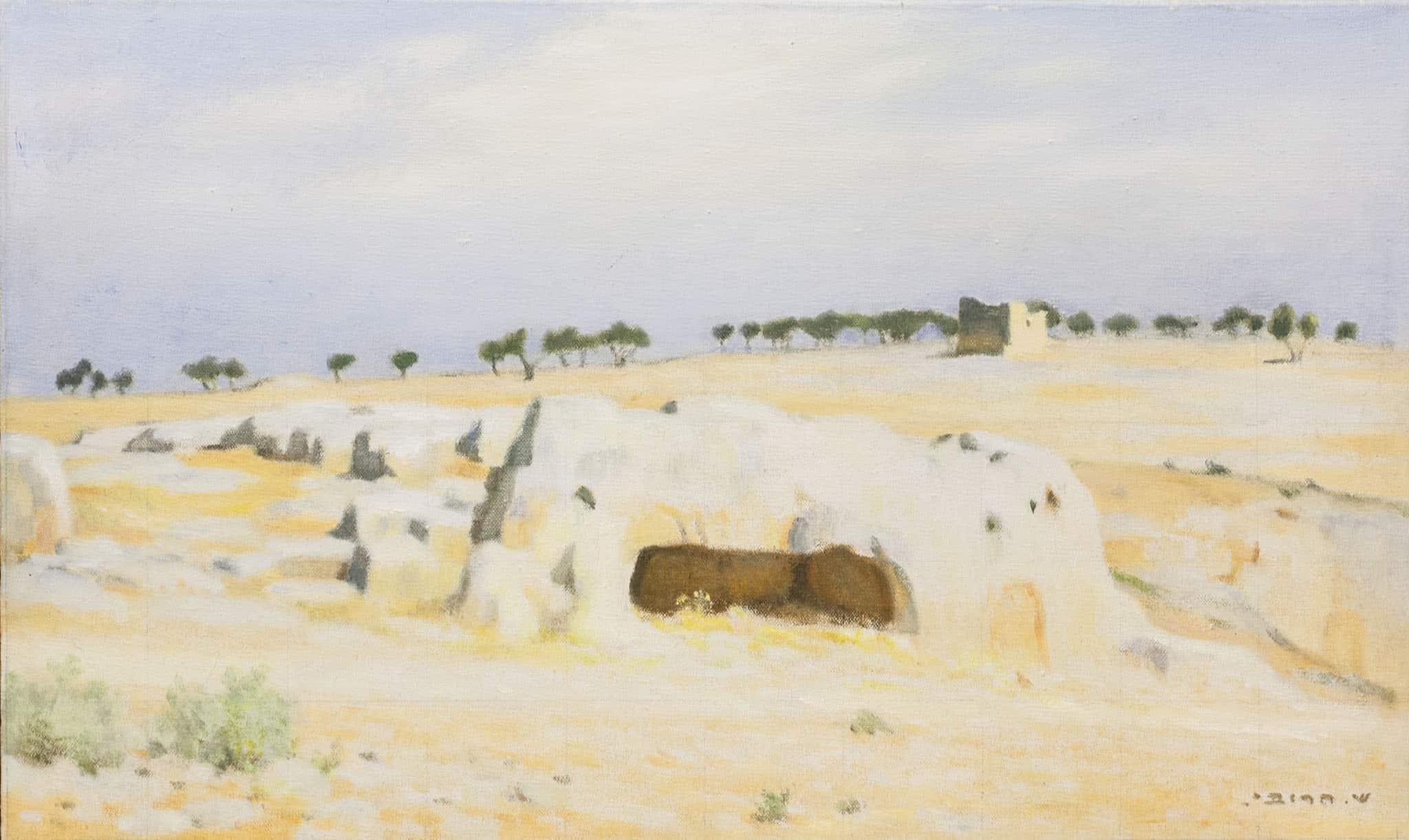 """שמואל חרובי, """"מערת קברי המלכים"""", 1928, שמן על בד, 57x34 ס""""מ"""