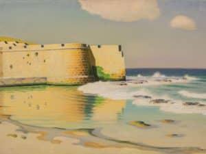 """שמואל חרובי, """"חומות עכו"""", שמן על בד, 64x42 ס""""מ"""
