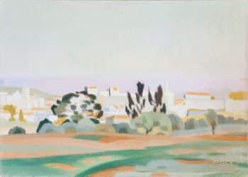 """שמואל חרובי, """"חומות ירושלים"""", שמן על בד, 49x38 ס""""מ"""