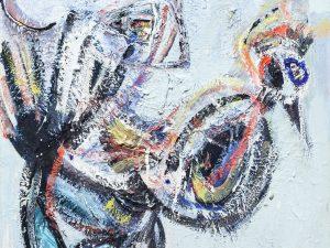"""יורם קניוק, """"תרנגול"""", 1954, שמן על בד, 50x60 ס""""מ"""