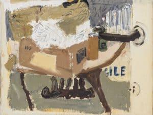 """ליליאן קלאפיש, """"Fra-Gile"""", 1976, שמן על בד, 35x27 ס""""מ"""