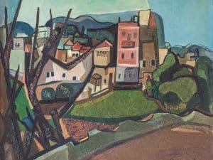 """עמירם תמרי, """"צפת"""", 1950, שמן על בד, 65x54 ס""""מ"""
