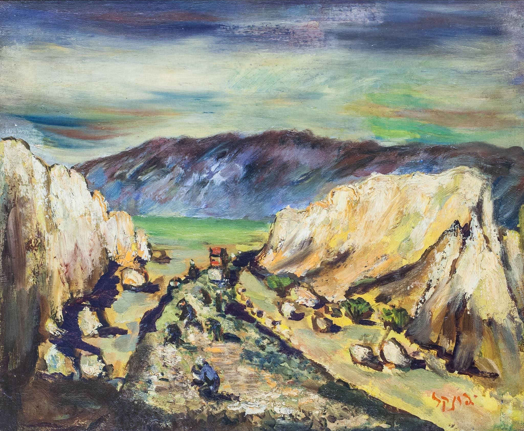 """יצחק פרנקל-פרנל, """"עובדים בדרך"""", שמן על מזוניט, 55x46 ס""""מ"""