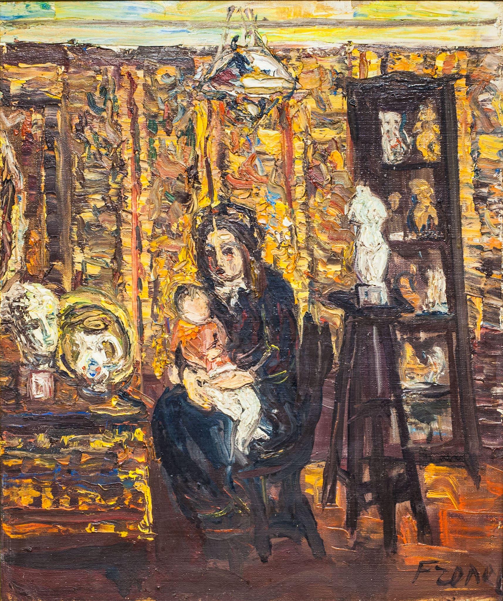 """יצחק פרנקל-פרנל, """"אישה עם ילד"""", שמן על בד, 46x55 ס""""מ"""