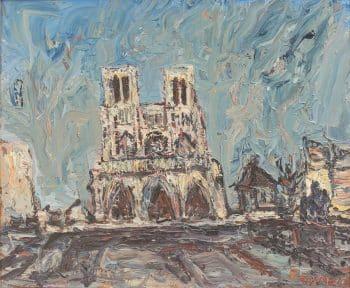 """יצחק פרנקל-פרנל, """"קתדרלת נוטרדאם דה פארי"""", שמן על בד, 45x37 ס""""מ"""