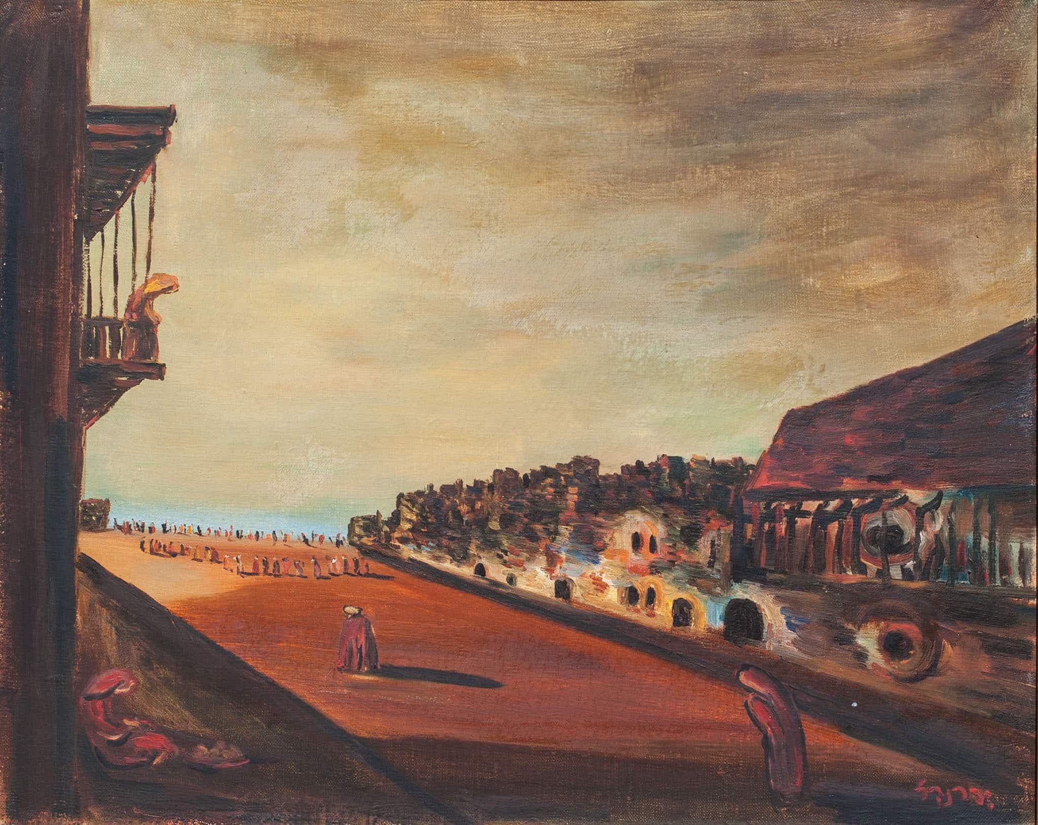 """יצחק פרנקל-פרנל, """"טבריה"""", שמן על בד, 60x50 ס""""מ"""