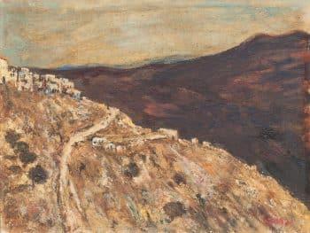 """יצחק פרנקל-פרנל, """"הדרך לצפת"""", שמן על לוח עץ, 35x27 ס""""מ"""
