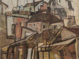 """צבי תדמור, """"נוף עירוני"""", 1961, שמן על בד, 50x60 ס""""מ"""