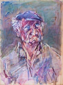 """צבי תדמור, """"דיוקן"""", 1997, אקריליק על נייר, 50x70 ס""""מ"""