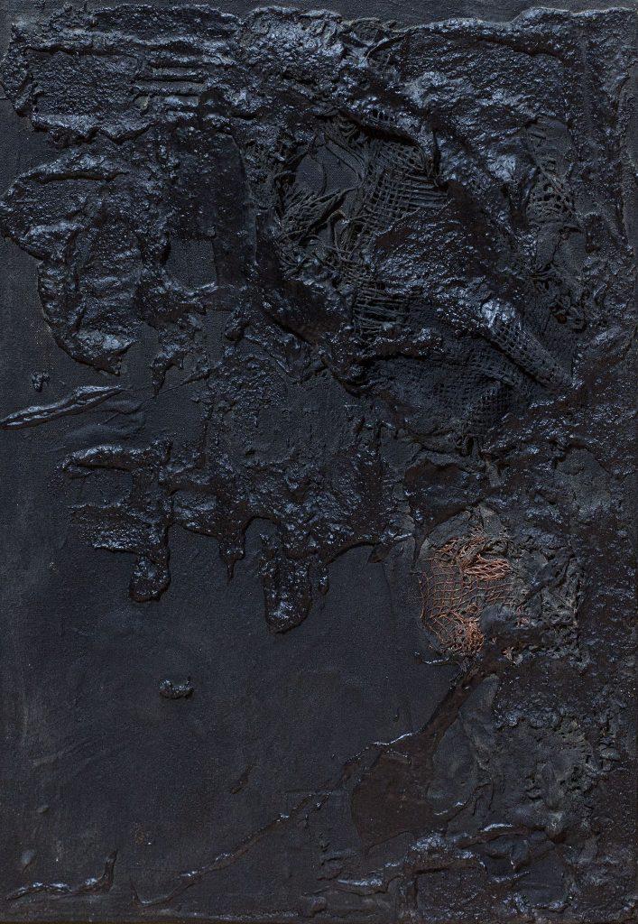 """איקה בראון, """"פריז"""", 1961, טכניקה מעורבת על בד, 38x55 ס""""מ"""