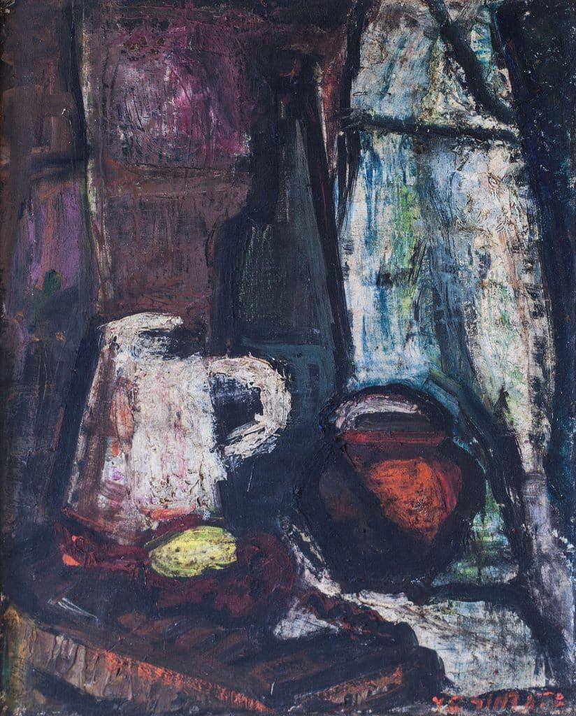 """צבי תדמור, """"טבע דומם"""", 1948, שמן על בד, 33x41 ס""""מ"""