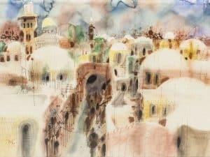 """שמואל כץ, """"ירושלים"""", אקוורל על נייר, 70x50 ס""""מ"""