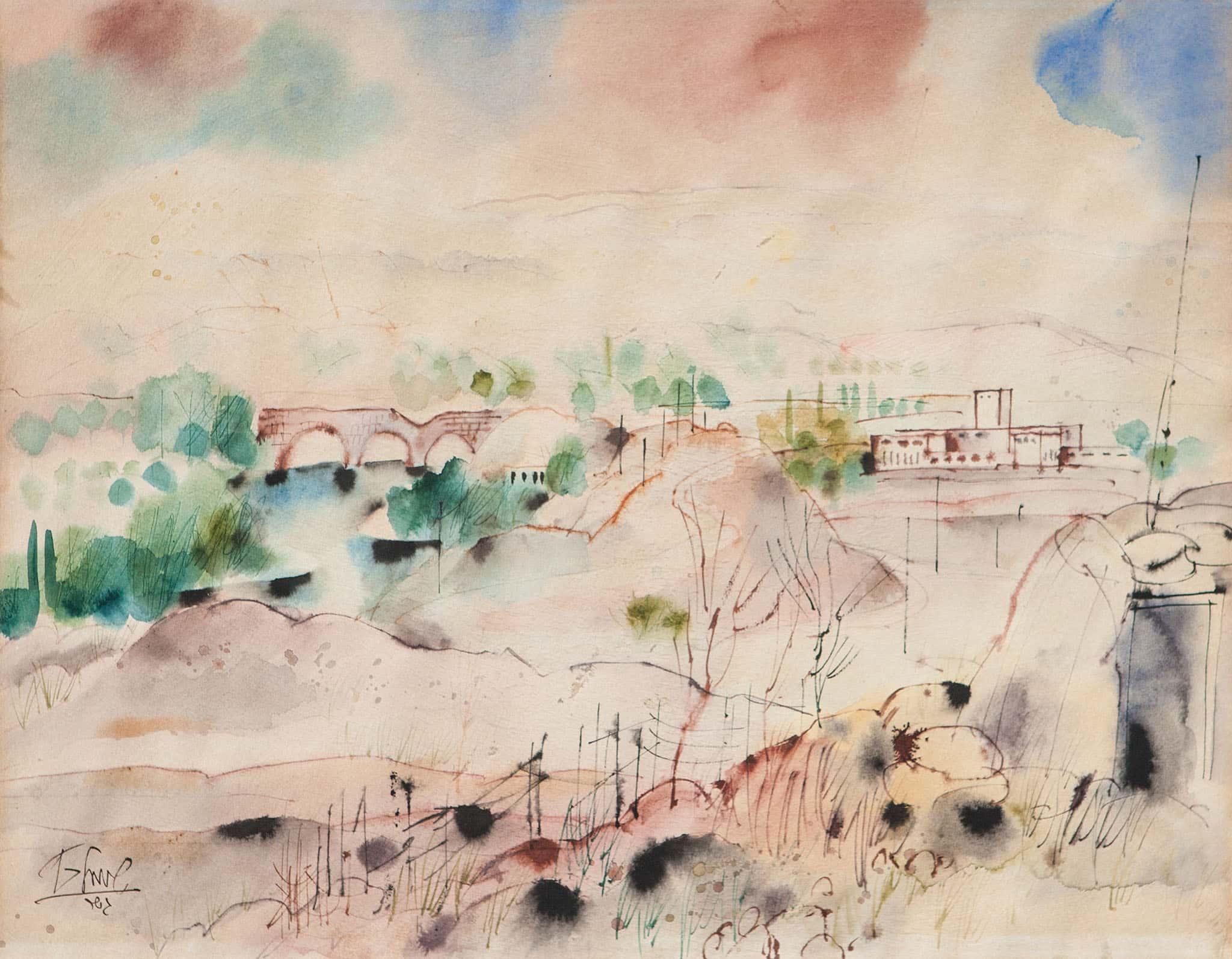 """שמואל כץ, """"גשר"""", אקוורל על נייר, 49x61 ס""""מ"""