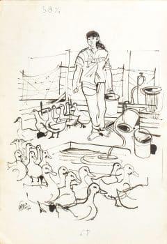 """שמואל כץ, """"נח""""לאית בלול"""", 1970, דיו על נייר, 24x35 ס""""מ"""