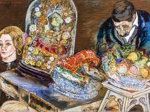 """מורנו פנקס, """"מוכר הזכרונות"""", שמן על בד, 46x33 ס""""מ"""