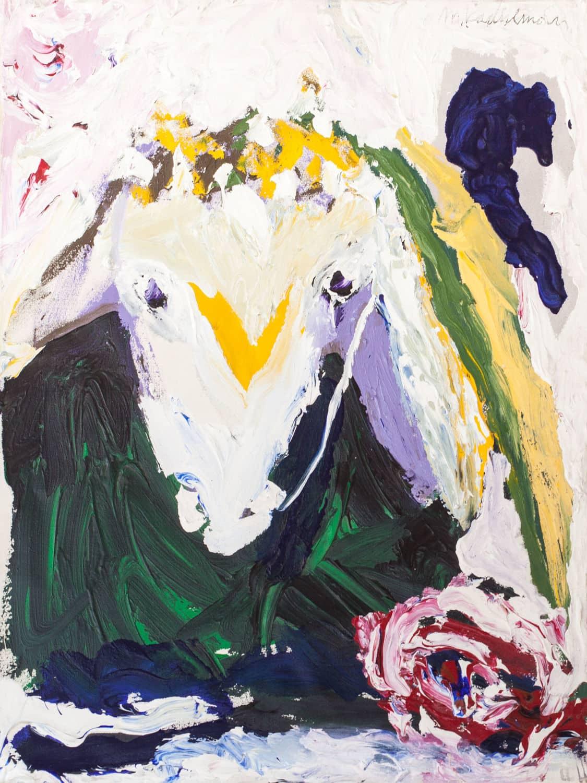 """מנשה קדישמן, """"ראש כבש"""", אקריליק על בד, 70x90 ס""""מ"""