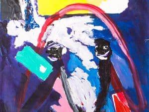 """מנשה קדישמן, """"ראש כבש"""", אקריליק על בד, 60x80 ס""""מ"""