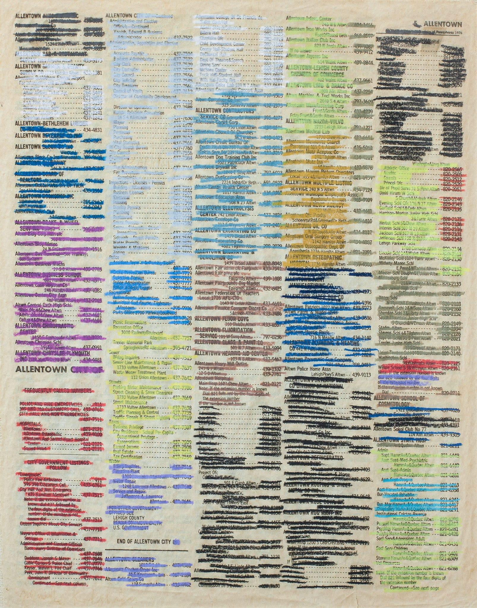 """מנשה קדישמן, """"קרדיגרמה - אלנטאון"""", פנדה על דף ספר טלפונים, 22x28 ס""""מ"""