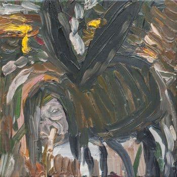 """מריק לכנר, """"אישה עכביש"""", שמן על בד, 30x30 ס""""מ"""