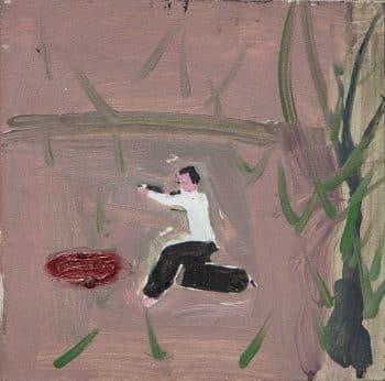 """מריק לכנר, """"ירייה"""", שמן על בד, 25x25 ס""""מ"""