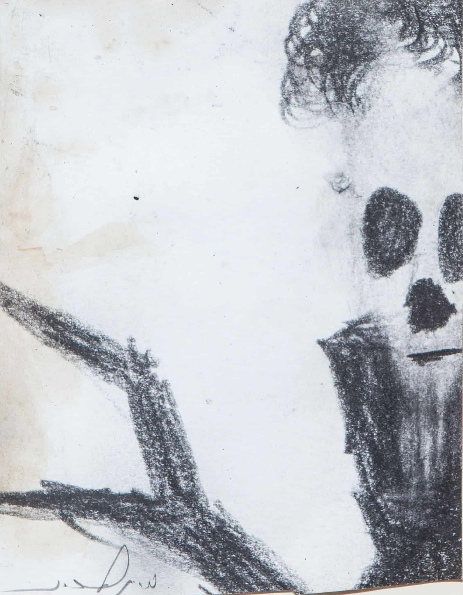 """מריק לכנר, """"גולגולת"""", עיפרון על נייר, 24x18 ס""""מ"""
