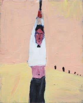 """מריק לכנר, """"מלצר"""", שמן על נייר, 23x30 ס""""מ"""